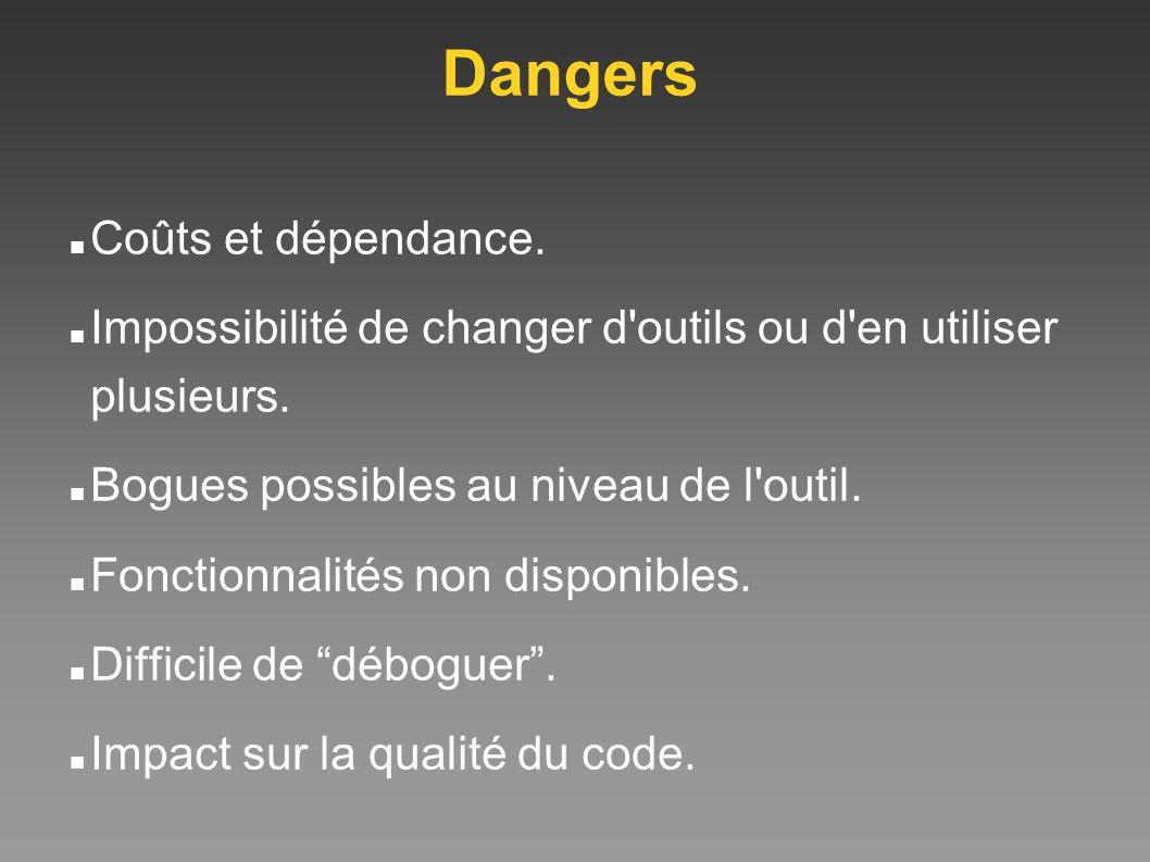 Dangers Coûts et dépendance. Impossibilité de changer d'outils ou d'en utiliser plusieurs. Bogues possibles au niveau de l'outil. Fonctionnalités non