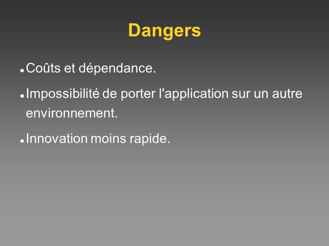 Dangers Coûts et dépendance. Impossibilité de porter l'application sur un autre environnement. Innovation moins rapide.
