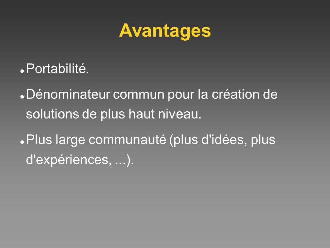Avantages Portabilité. Dénominateur commun pour la création de solutions de plus haut niveau. Plus large communauté (plus d'idées, plus d'expériences,