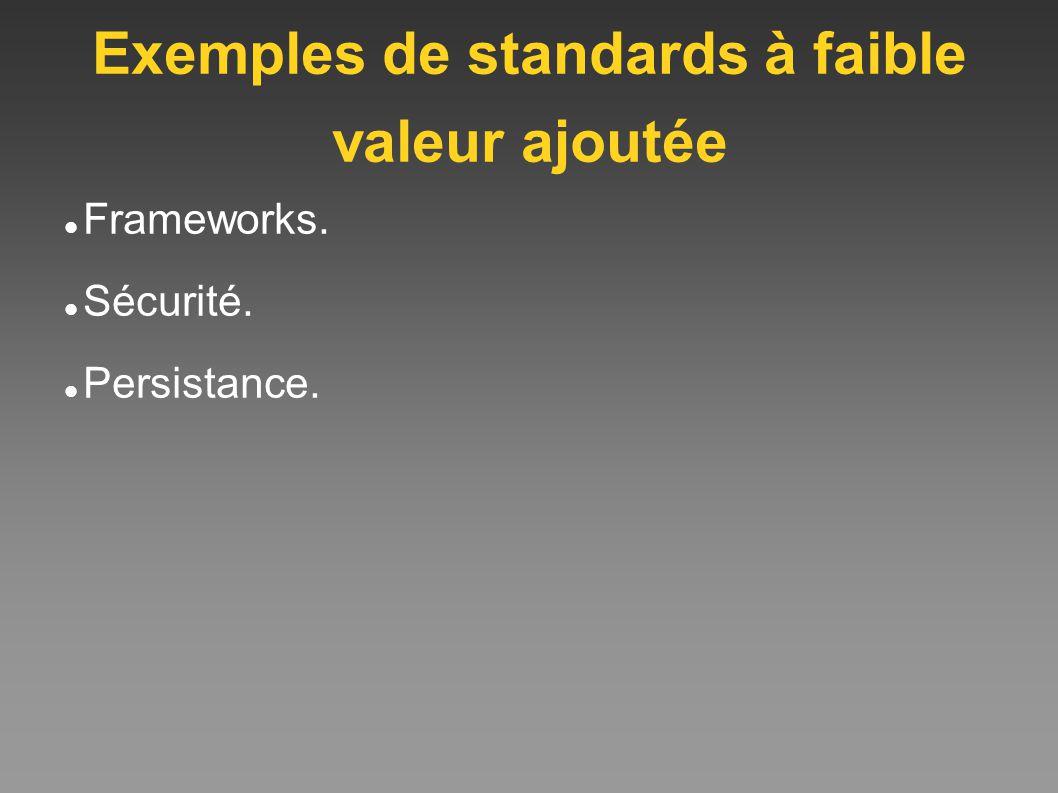 Exemples de standards à faible valeur ajoutée Frameworks. Sécurité. Persistance.