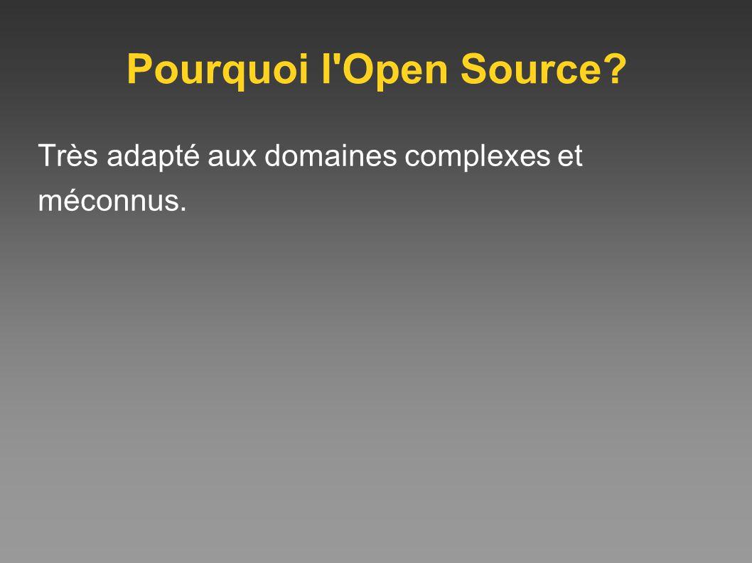 Pourquoi l'Open Source? Très adapté aux domaines complexes et méconnus.