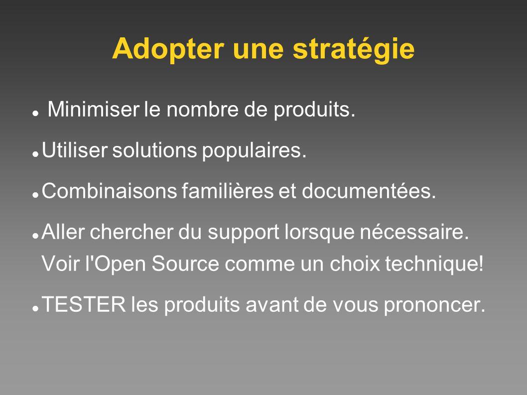 Adopter une stratégie Minimiser le nombre de produits. Utiliser solutions populaires. Combinaisons familières et documentées. Aller chercher du suppor