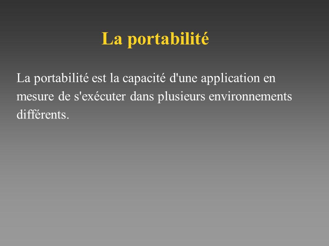 La portabilité est la capacité d'une application en mesure de s'exécuter dans plusieurs environnements différents. La portabilité