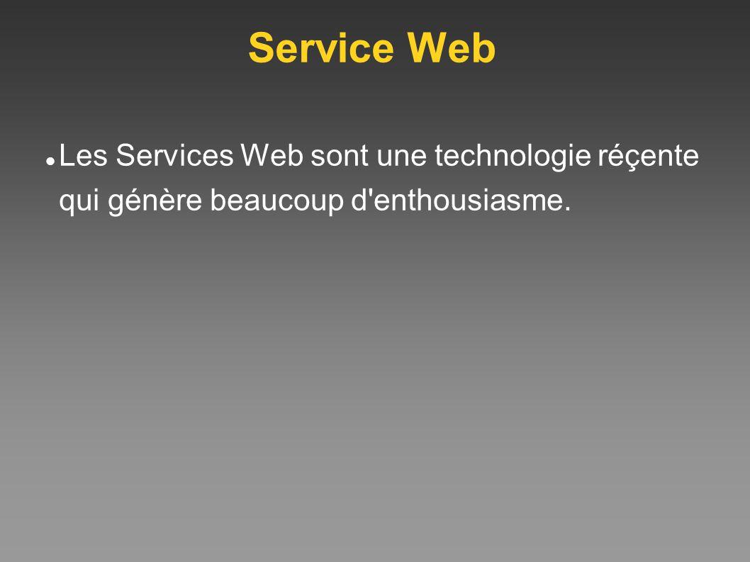 Service Web Les Services Web sont une technologie réçente qui génère beaucoup d'enthousiasme.