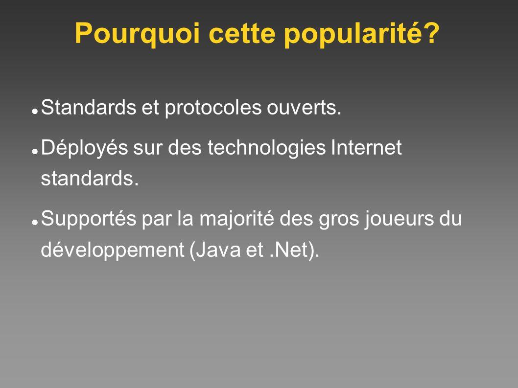 Pourquoi cette popularité? Standards et protocoles ouverts. Déployés sur des technologies Internet standards. Supportés par la majorité des gros joueu