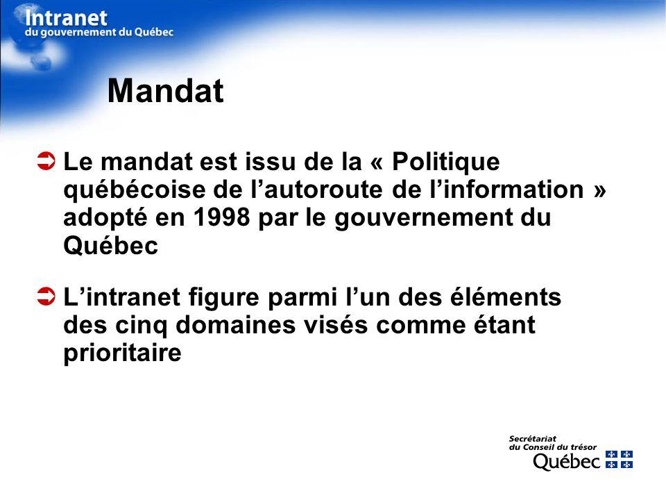 Le mandat est issu de la « Politique québécoise de lautoroute de linformation » adopté en 1998 par le gouvernement du Québec Lintranet figure parmi lun des éléments des cinq domaines visés comme étant prioritaire Mandat