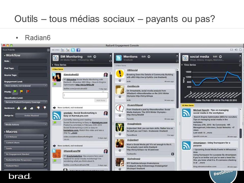 Outils – tous médias sociaux – payants ou pas? Radian6