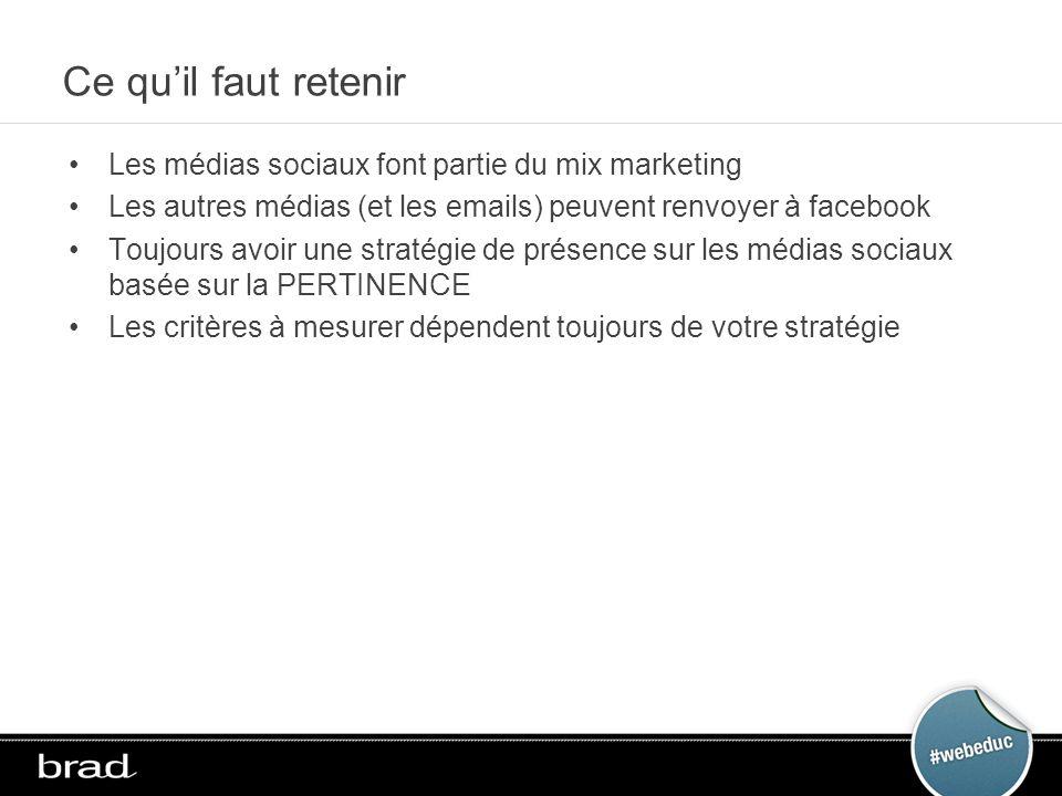Ce quil faut retenir Les médias sociaux font partie du mix marketing Les autres médias (et les emails) peuvent renvoyer à facebook Toujours avoir une stratégie de présence sur les médias sociaux basée sur la PERTINENCE Les critères à mesurer dépendent toujours de votre stratégie