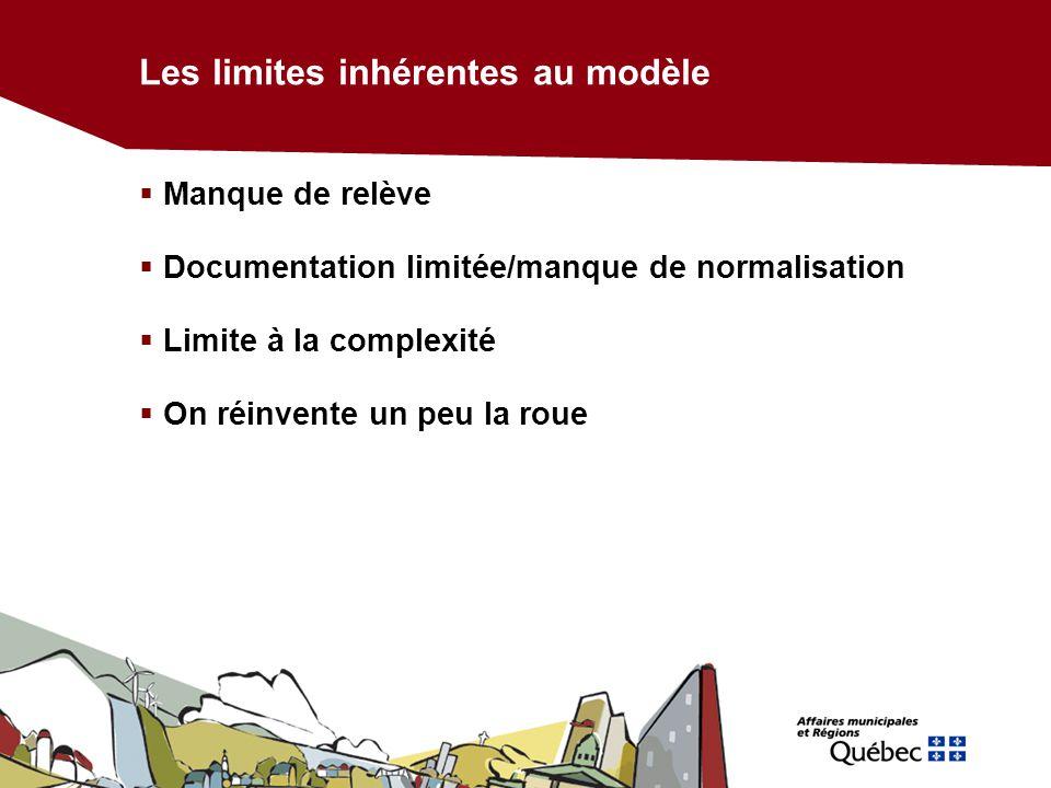 Les limites inhérentes au modèle Manque de relève Documentation limitée/manque de normalisation Limite à la complexité On réinvente un peu la roue