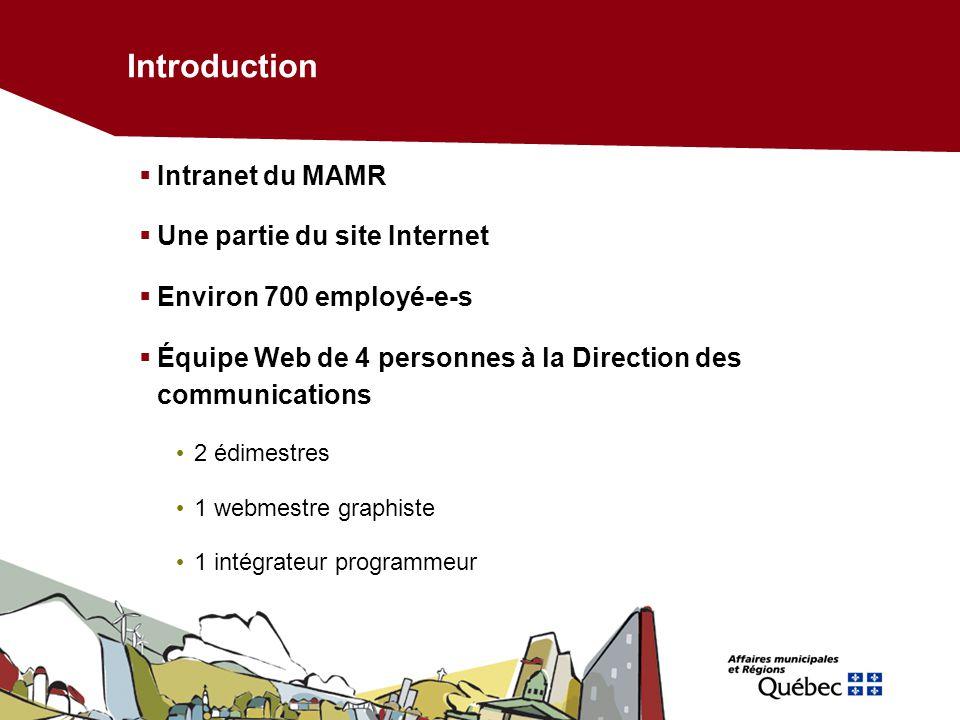 Introduction Intranet du MAMR Une partie du site Internet Environ 700 employé-e-s Équipe Web de 4 personnes à la Direction des communications 2 édimes