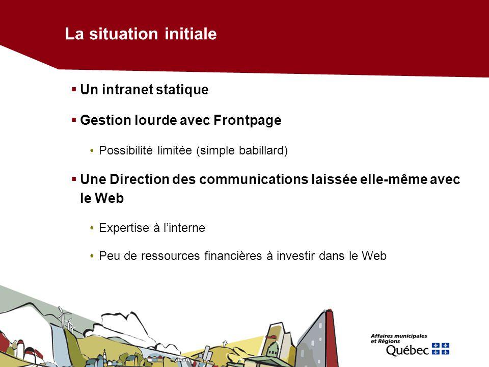 La situation initiale Un intranet statique Gestion lourde avec Frontpage Possibilité limitée (simple babillard) Une Direction des communications laiss