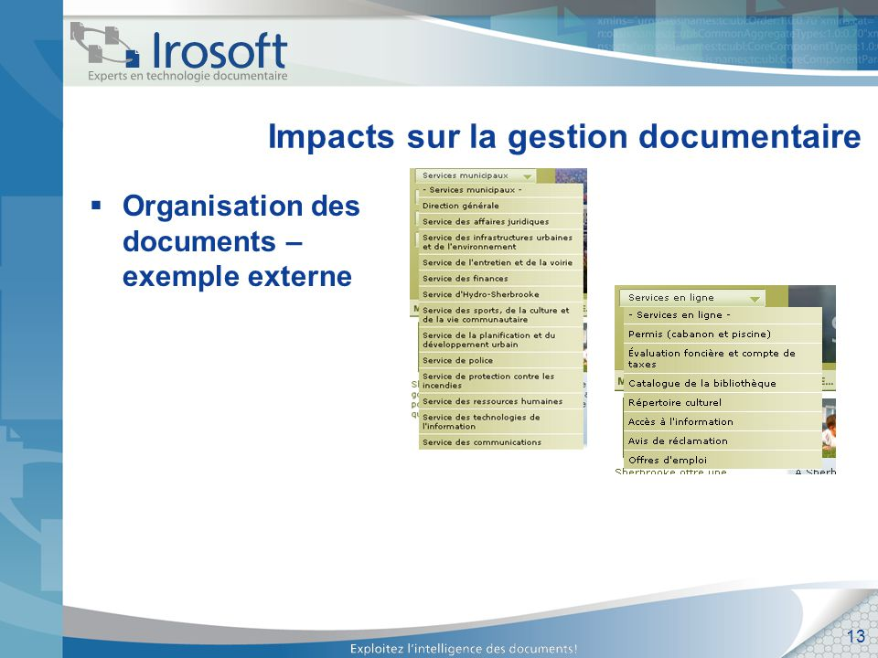 13 Impacts sur la gestion documentaire Organisation des documents – exemple externe