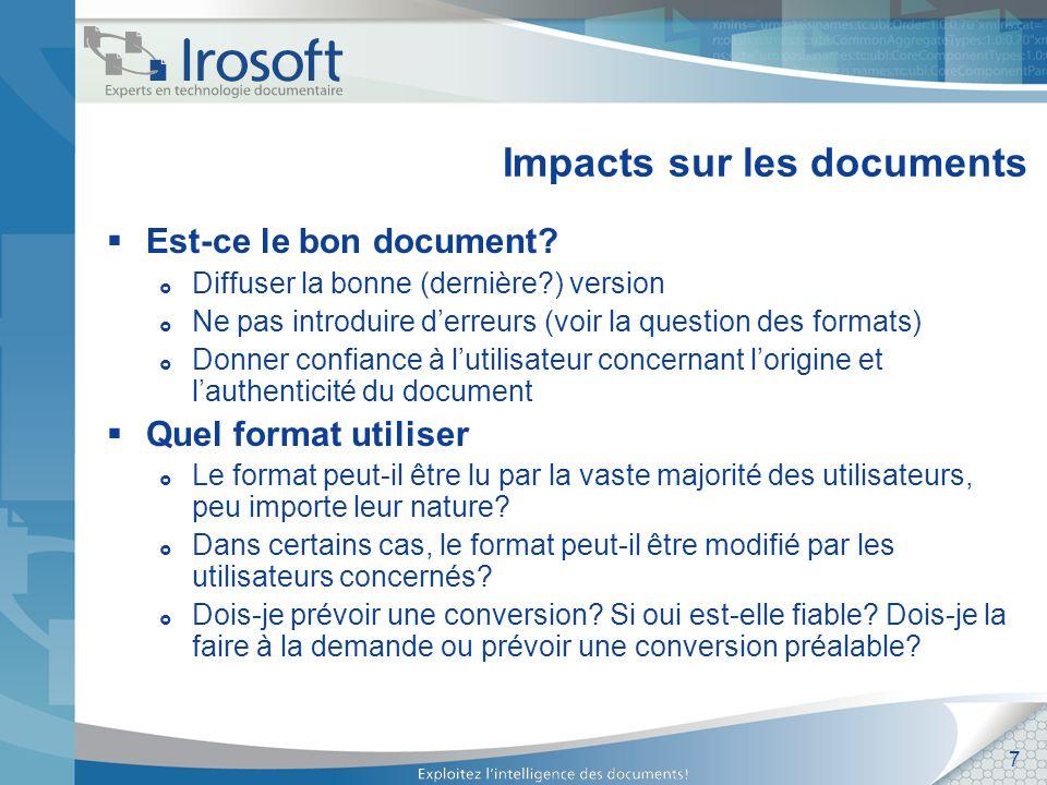 8 Impacts sur les documents Ais-je les bonnes métadonnées.