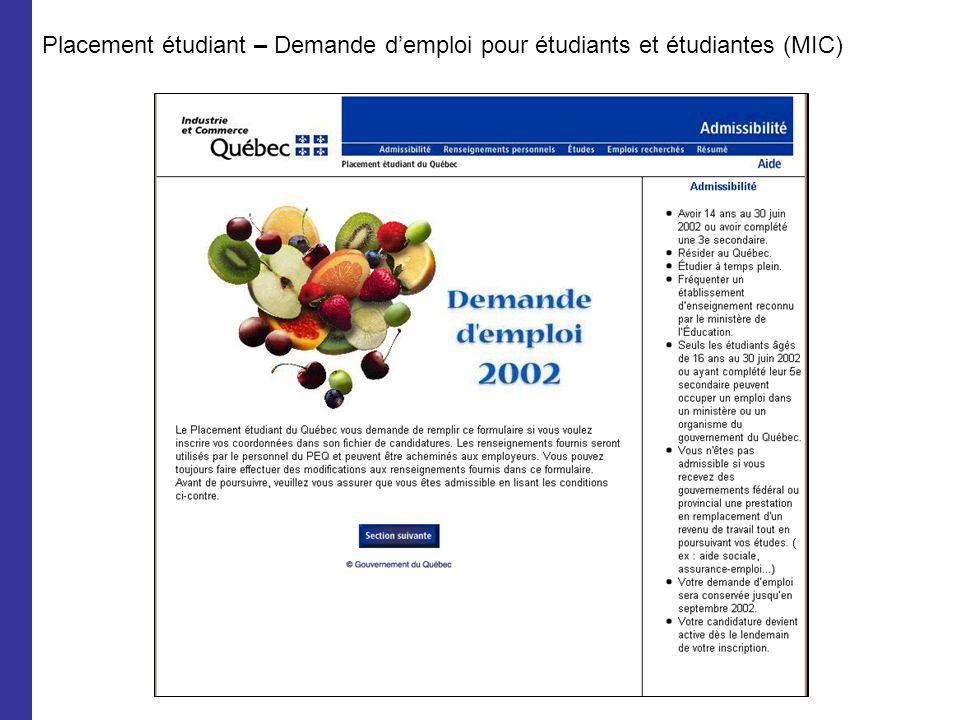 Placement étudiant – Demande demploi pour étudiants et étudiantes (MIC)