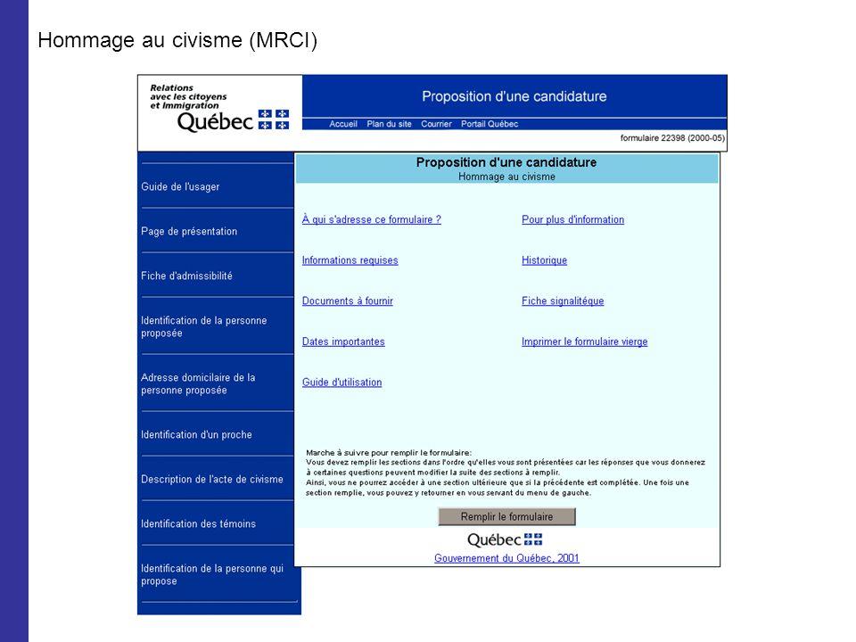 Hommage au civisme (MRCI)