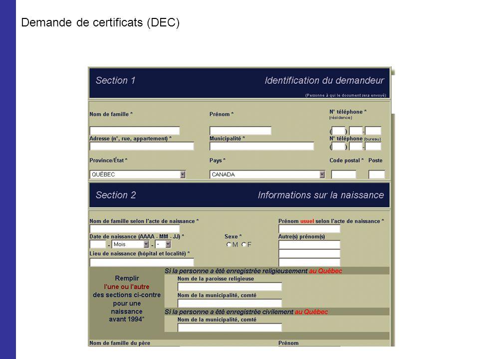 Demande de certificats (DEC)