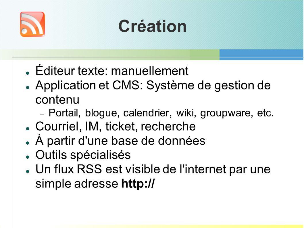 Création Éditeur texte: manuellement Application et CMS: Système de gestion de contenu Portail, blogue, calendrier, wiki, groupware, etc.