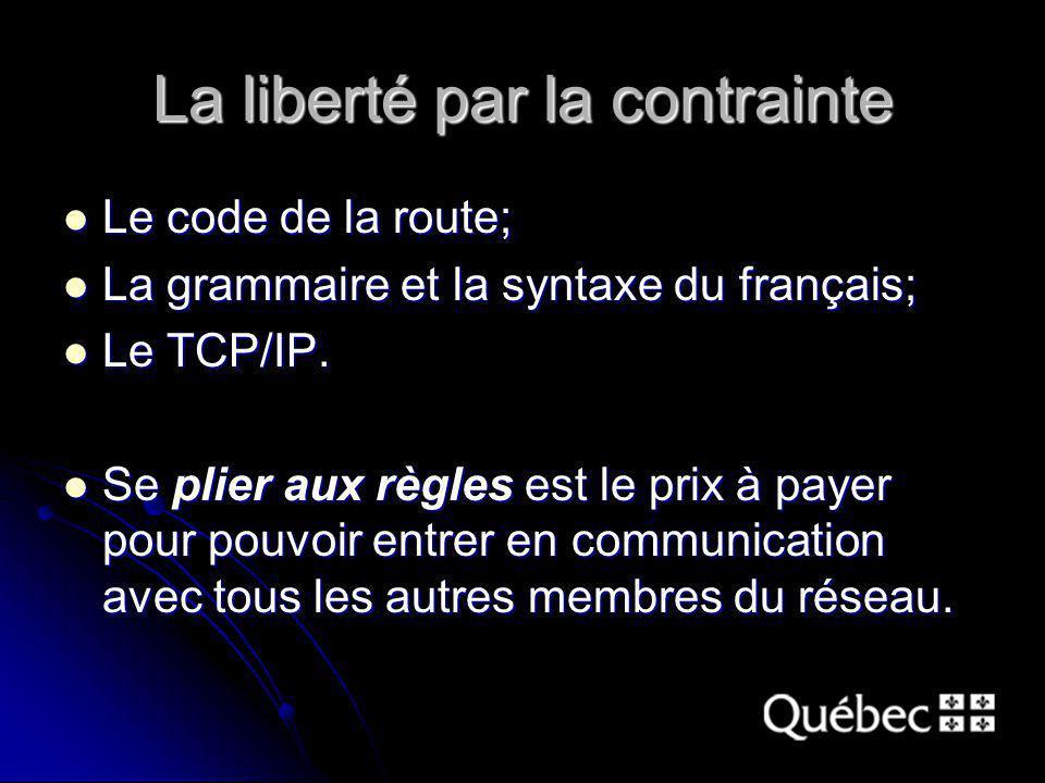 La liberté par la contrainte Le code de la route; Le code de la route; La grammaire et la syntaxe du français; La grammaire et la syntaxe du français; Le TCP/IP.