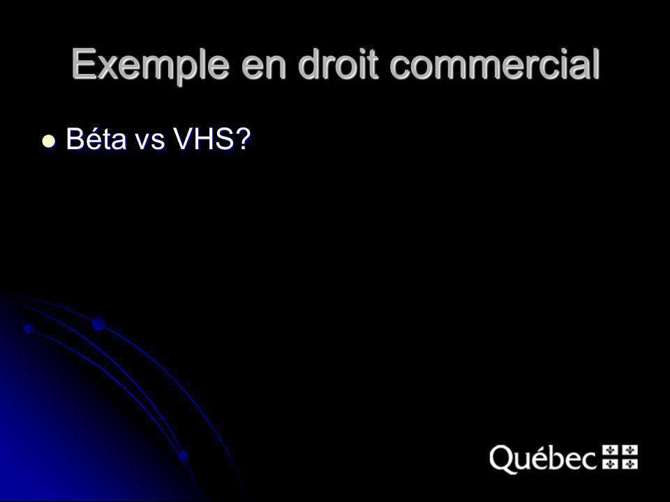 Exemple en droit commercial Béta vs VHS? Béta vs VHS?