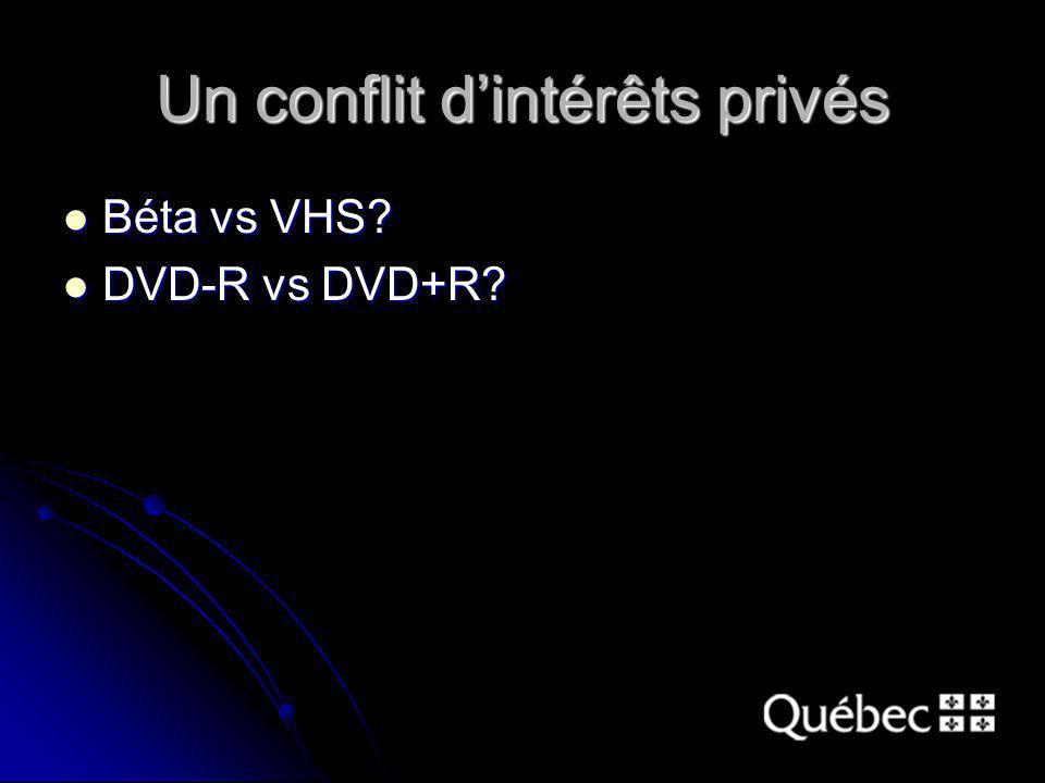 Un conflit dintérêts privés Béta vs VHS Béta vs VHS DVD-R vs DVD+R DVD-R vs DVD+R