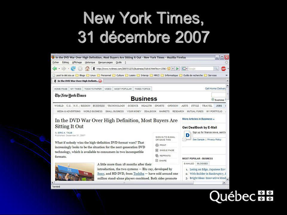 New York Times, 31 décembre 2007