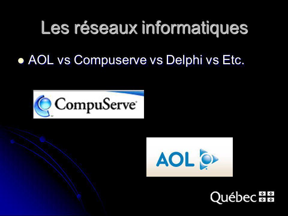 Les réseaux informatiques AOL vs Compuserve vs Delphi vs Etc. AOL vs Compuserve vs Delphi vs Etc.
