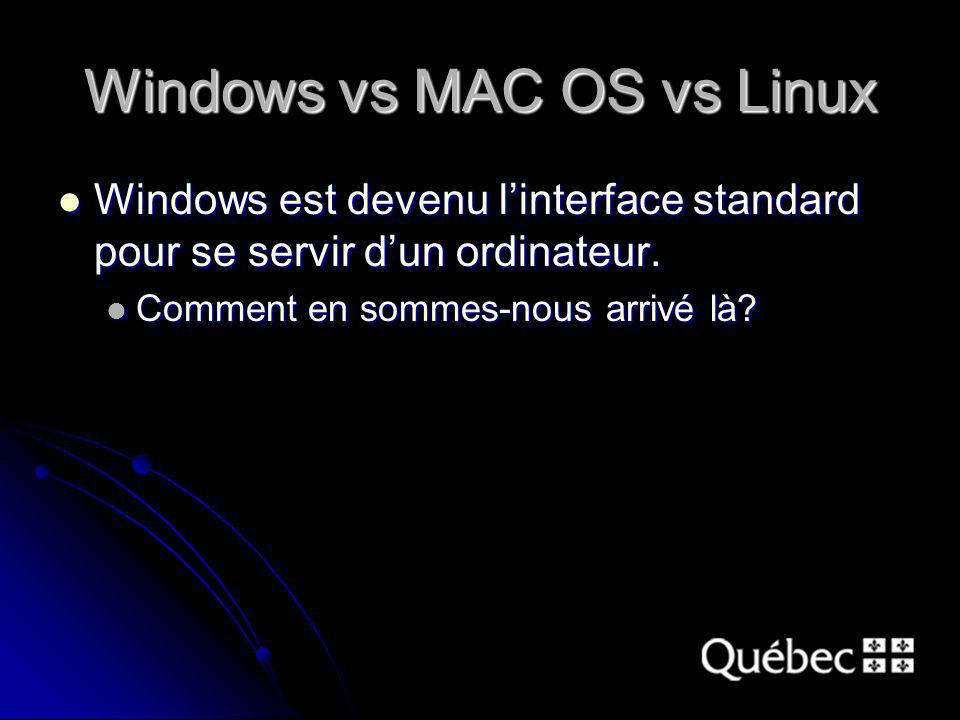 Windows vs MAC OS vs Linux Windows est devenu linterface standard pour se servir dun ordinateur.