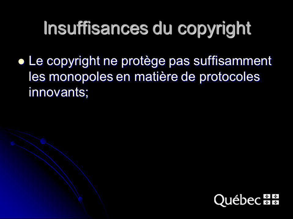 Insuffisances du copyright Le copyright ne protège pas suffisamment les monopoles en matière de protocoles innovants; Le copyright ne protège pas suff
