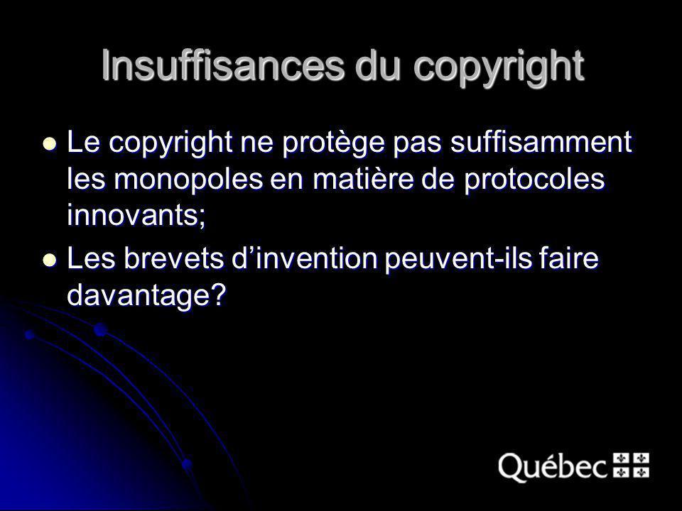 Insuffisances du copyright Le copyright ne protège pas suffisamment les monopoles en matière de protocoles innovants; Le copyright ne protège pas suffisamment les monopoles en matière de protocoles innovants; Les brevets dinvention peuvent-ils faire davantage.