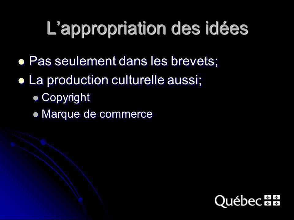 Lappropriation des idées Pas seulement dans les brevets; Pas seulement dans les brevets; La production culturelle aussi; La production culturelle aussi; Copyright Copyright Marque de commerce Marque de commerce