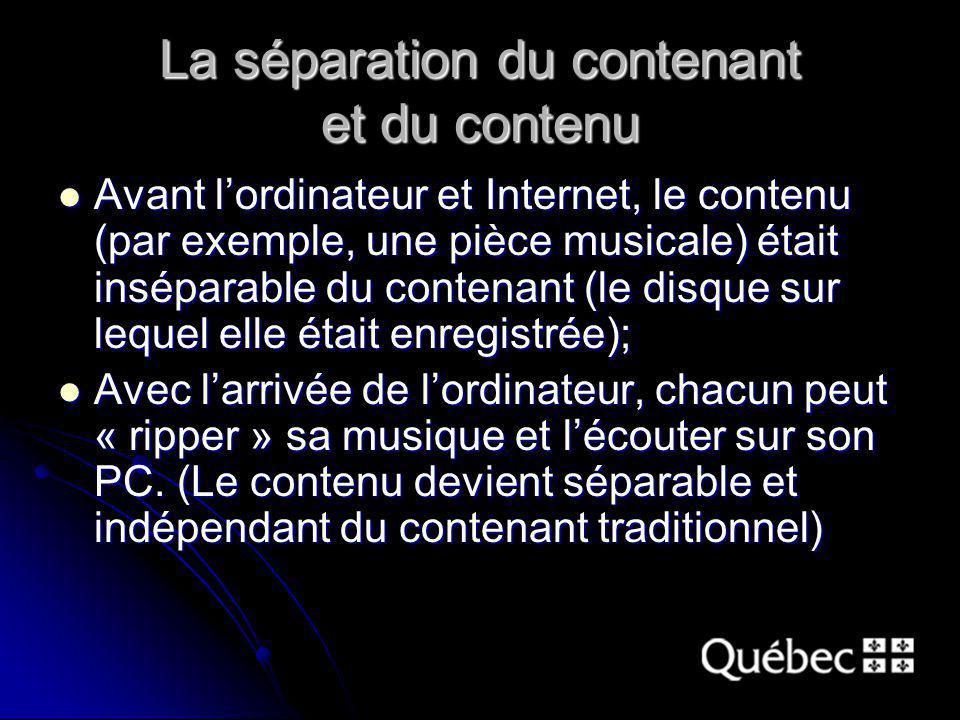 La séparation du contenant et du contenu Avant lordinateur et Internet, le contenu (par exemple, une pièce musicale) était inséparable du contenant (l