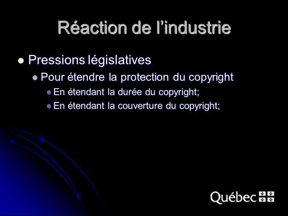 Réaction de lindustrie Pressions législatives Pressions législatives Pour étendre la protection du copyright Pour étendre la protection du copyright En étendant la durée du copyright; En étendant la durée du copyright; En étendant la couverture du copyright; En étendant la couverture du copyright;