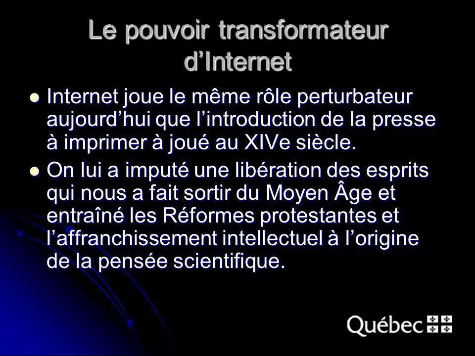 Le pouvoir transformateur dInternet Internet joue le même rôle perturbateur aujourdhui que lintroduction de la presse à imprimer à joué au XIVe siècle.