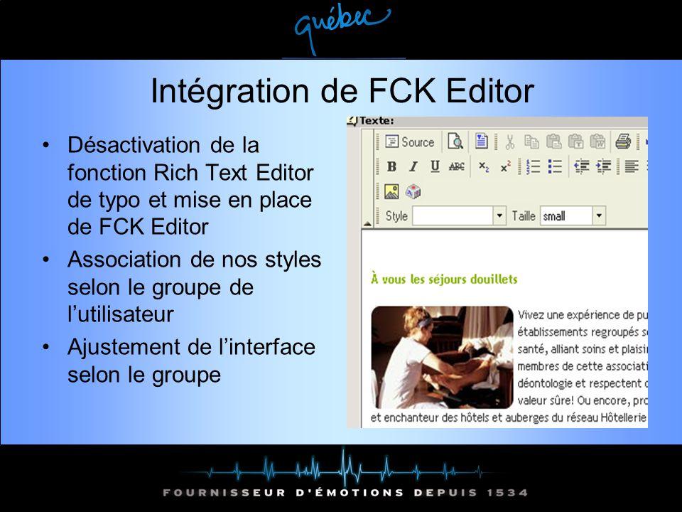Intégration de FCK Editor Désactivation de la fonction Rich Text Editor de typo et mise en place de FCK Editor Association de nos styles selon le groupe de lutilisateur Ajustement de linterface selon le groupe