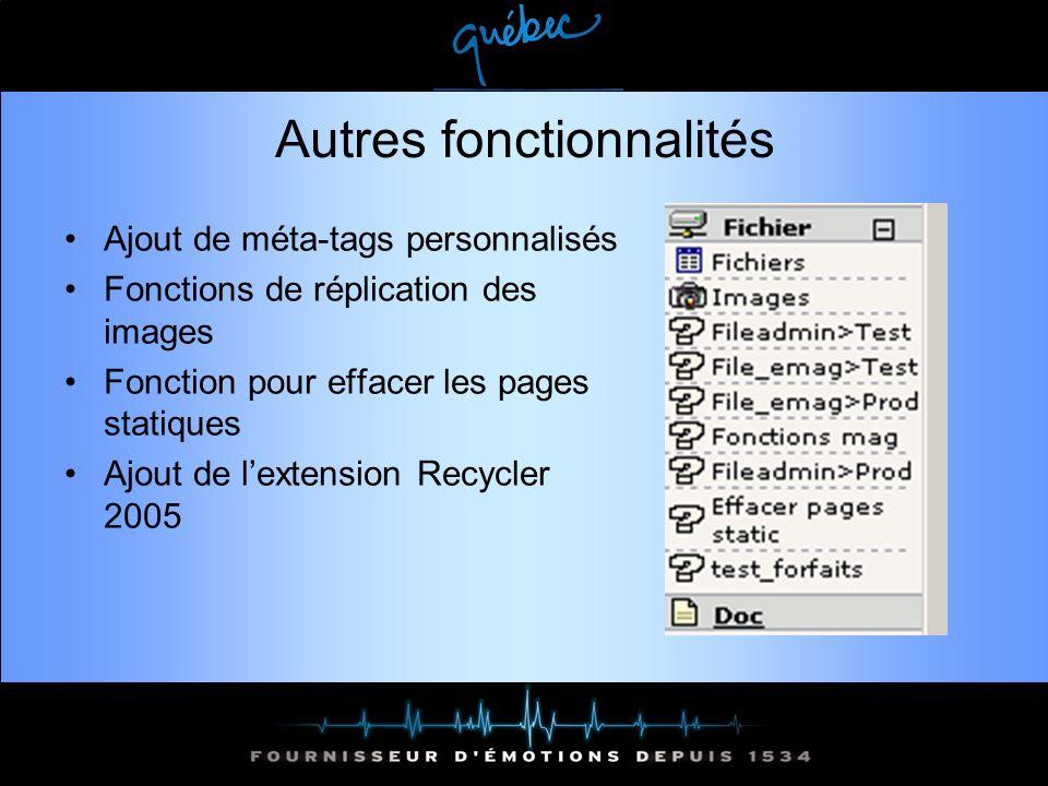 Autres fonctionnalités Ajout de méta-tags personnalisés Fonctions de réplication des images Fonction pour effacer les pages statiques Ajout de lextension Recycler 2005