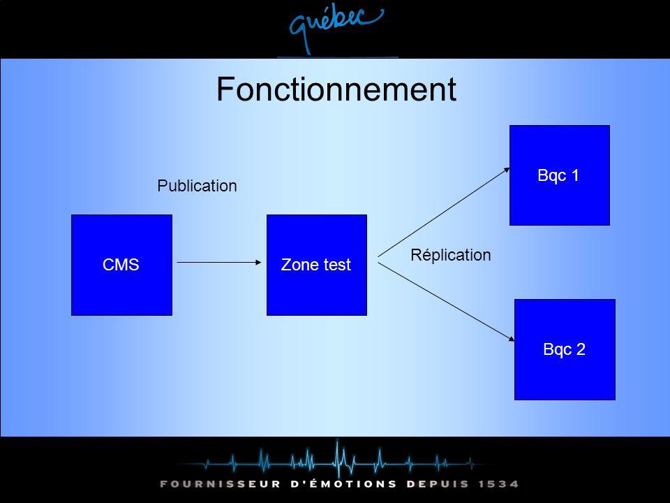 Fonctionnement CMSZone test Publication Réplication Bqc 1 Bqc 2