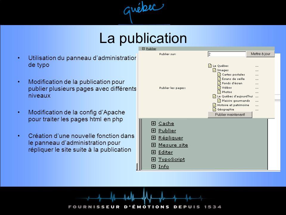 La publication Utilisation du panneau dadministration de typo Modification de la publication pour publier plusieurs pages avec différents niveaux Modification de la config dApache pour traiter les pages html en php Création dune nouvelle fonction dans le panneau dadministration pour répliquer le site suite à la publication
