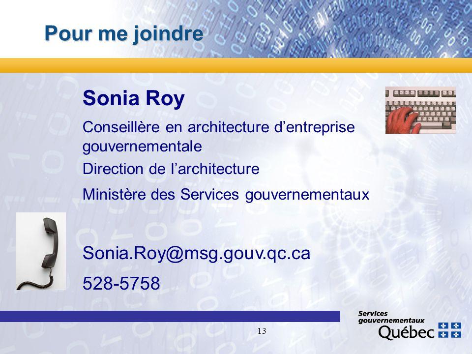 13 Pour me joindre Sonia Roy Conseillère en architecture dentreprise gouvernementale Direction de larchitecture Ministère des Services gouvernementaux Sonia.Roy@msg.gouv.qc.ca 528-5758