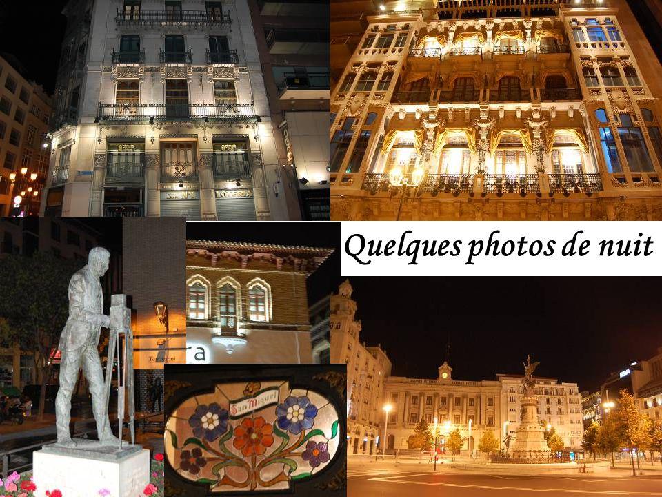 Façades, fontaine et statue de nuit