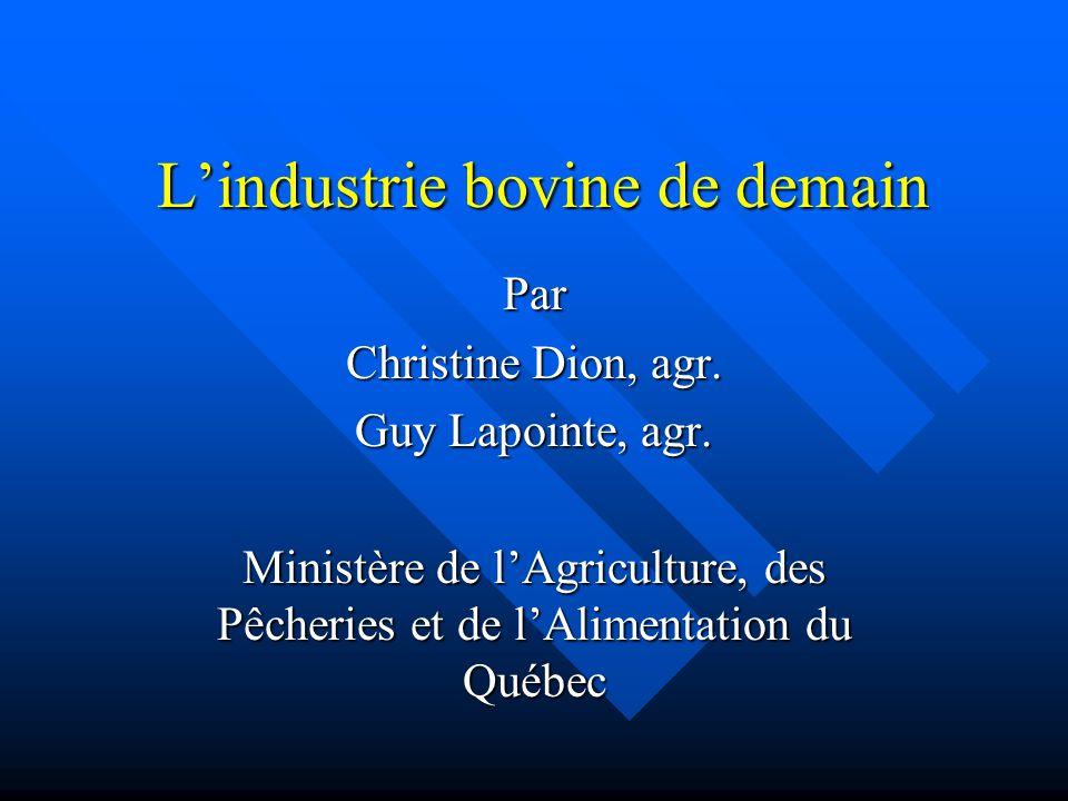Lindustrie bovine de demain Par Christine Dion, agr. Guy Lapointe, agr. Ministère de lAgriculture, des Pêcheries et de lAlimentation du Québec