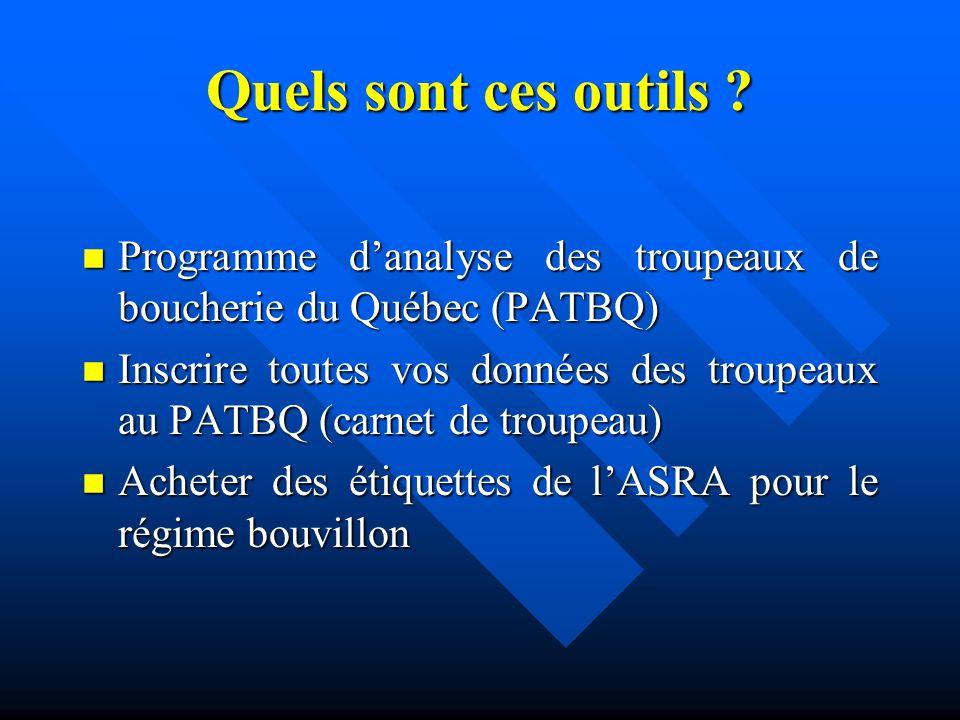 Quels sont ces outils ? n Programme danalyse des troupeaux de boucherie du Québec (PATBQ) n Inscrire toutes vos données des troupeaux au PATBQ (carnet