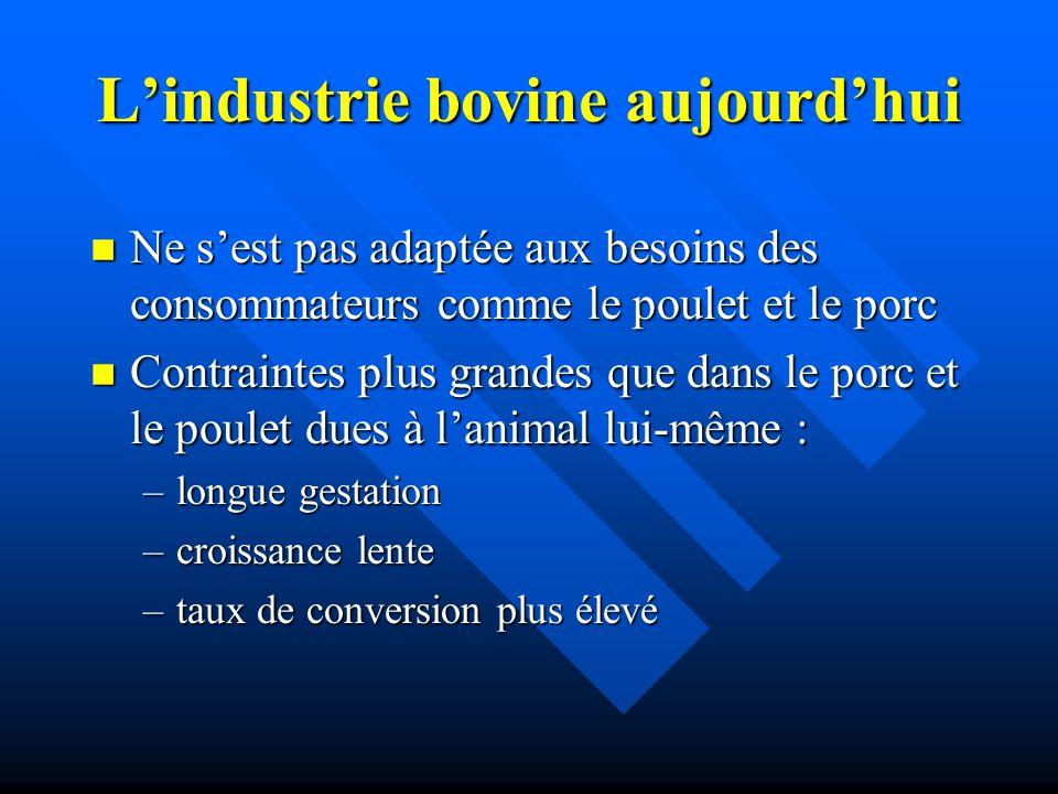 Lindustrie bovine aujourdhui n Ne sest pas adaptée aux besoins des consommateurs comme le poulet et le porc n Contraintes plus grandes que dans le por