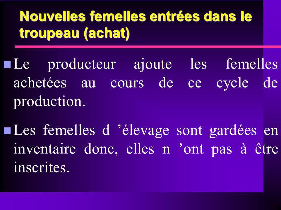 Nouvelles femelles entrées dans le troupeau (achat) n Le producteur ajoute les femelles achetées au cours de ce cycle de production. n Les femelles d