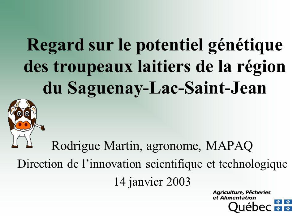 Regard sur le potentiel génétique des troupeaux laitiers de la région du Saguenay-Lac-Saint-Jean Rodrigue Martin, agronome, MAPAQ Direction de linnovation scientifique et technologique 14 janvier 2003