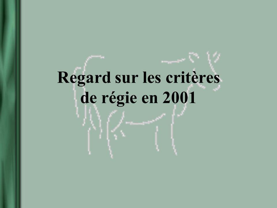 Regard sur les critères de régie en 2001
