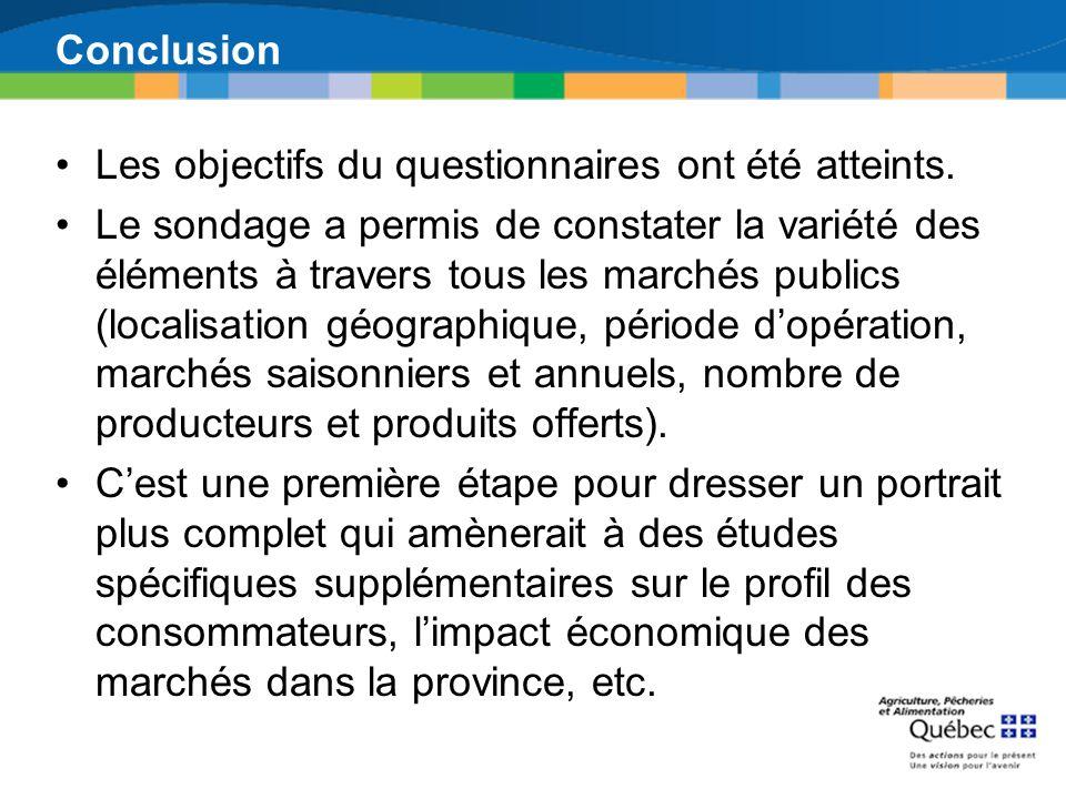 Conclusion Les objectifs du questionnaires ont été atteints. Le sondage a permis de constater la variété des éléments à travers tous les marchés publi