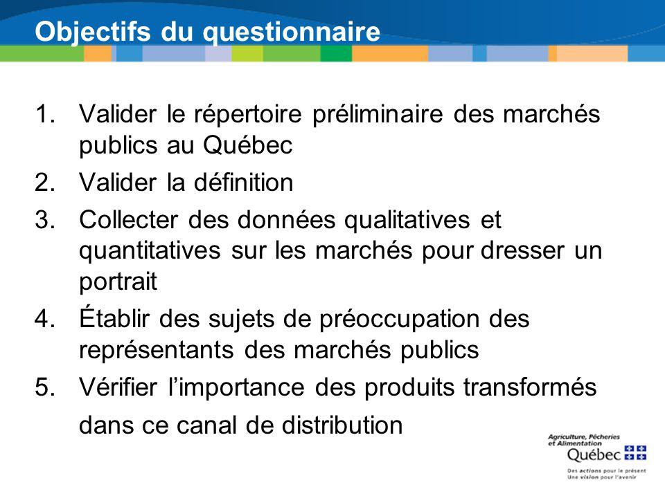 Objectifs du questionnaire 1.Valider le répertoire préliminaire des marchés publics au Québec 2.Valider la définition 3.Collecter des données qualitat