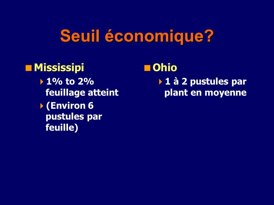 Seuil économique? Mississipi 1% to 2% feuillage atteint (Environ 6 pustules par feuille) Ohio 1 à 2 pustules par plant en moyenne