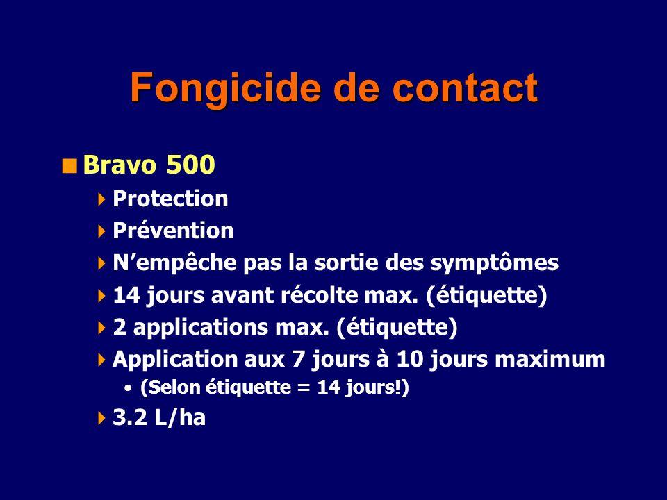 Fongicide de contact Bravo 500 Protection Prévention Nempêche pas la sortie des symptômes 14 jours avant récolte max. (étiquette) 2 applications max.