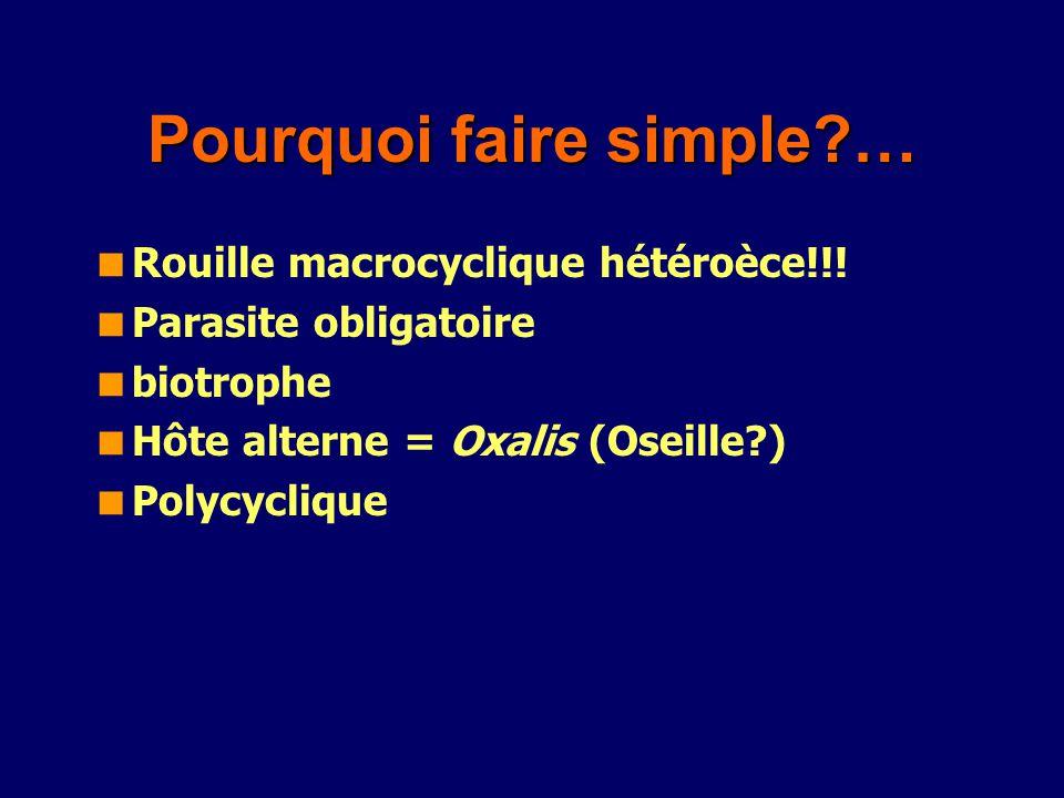 Pourquoi faire simple?… Rouille macrocyclique hétéroèce!!! Parasite obligatoire biotrophe Hôte alterne = Oxalis (Oseille?) Polycyclique